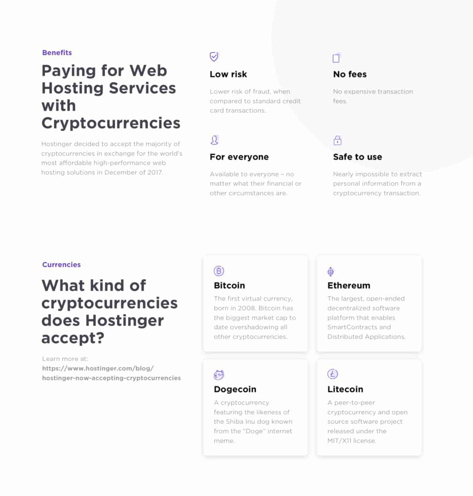 Hostinger hosting services accept cryptocurrencies for paying