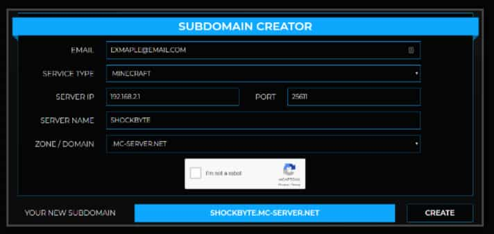 Shockbyte Subdomain Creator