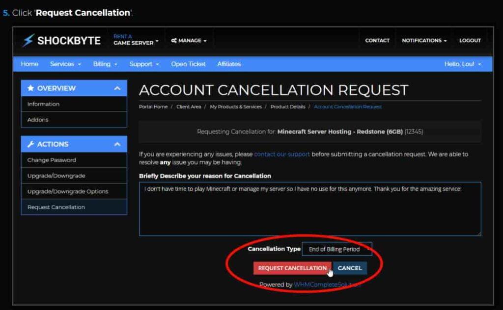 Shockbyte Account Cancellation Request