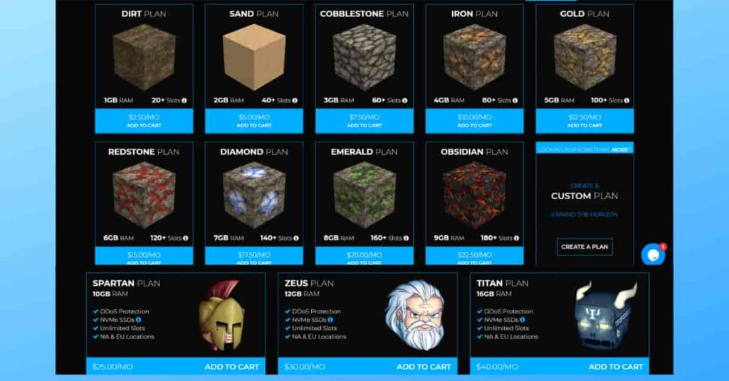 Shockbyte Minecraft Server Hosting Review of Plans & Pricing